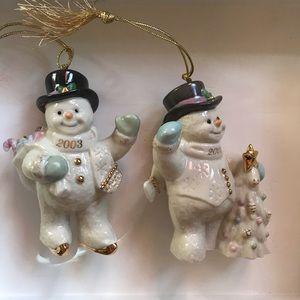 Lenox Lot of 2002 & 2003 Snowmen Ornaments